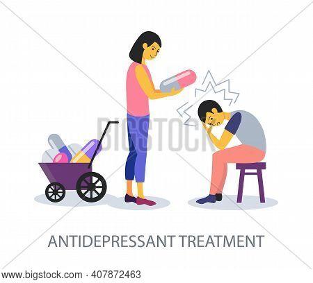 Antidepressant Treatment Concept On White Background, Flat Design Vector Illustration