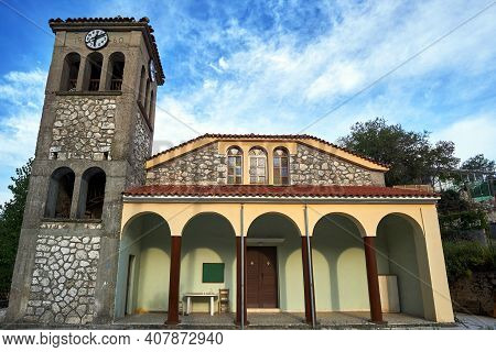 Belfry Of The Orthodox Church On The Island Of Lefkada In Greece