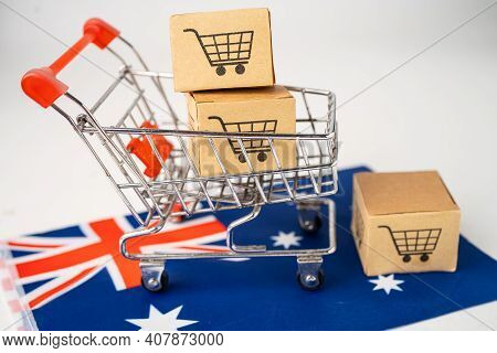 Box With Shopping Cart Logo And Australia Flag, Import Export Shopping Online Or Ecommerce Finance D