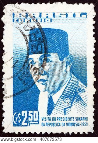 Brazil - Circa 1959: A Stamp Printed In Brazil Shows President Sukarno Of Indonesia, Visit Of Presid