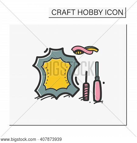 Leatherworking Hand Draw Color Icon. Leather Material And Instruments. Creative Hobby. Handmade Conc