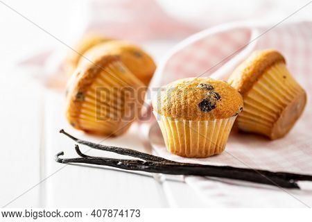 Vanilla muffins. Sweet cupcakes and vanilla pods on white table.