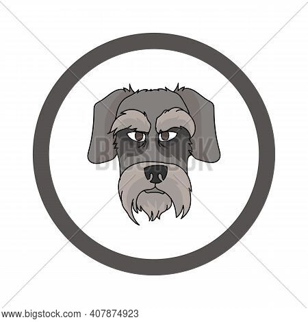 Cute Cartoon Schnauzer Face In Circle Dog Vector Clipart. Pedigree Kennel Doggie Breed For Kennel Cl