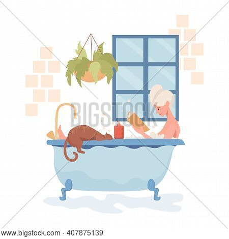 Young Happy Woman Take A Bath And Reading Book Vector Flat Illustration. Woman Resting With Domestic