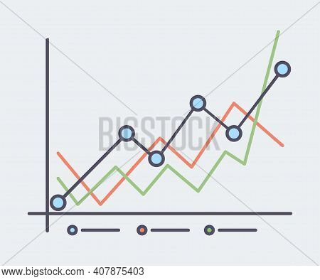 Abstract Financial Chart, Stock Market Vector Outline Illustration. Business Success, Financial Grow