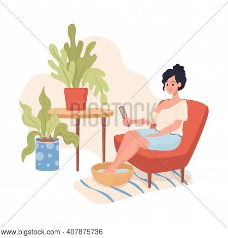 Young Smiling Woman Sitting In Comfortable Armchair And Make Pedicure At Home By Herself Vector Flat