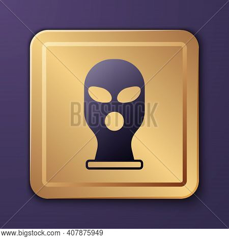 Purple Balaclava Icon Isolated On Purple Background. A Piece Of Clothing For Winter Sports Or A Mask