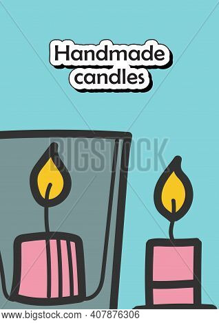 Handmade Candles Brochure Create Your Own Candles Cover Design And Flyer Layout Template. Vector Ill