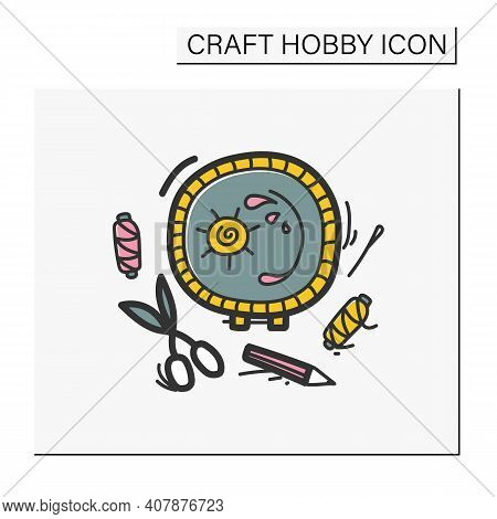 Aesthetic Embroidery Hand Drawn Color Icon. Needlework Concept. An Easy Craft With Detailed Work. Cr