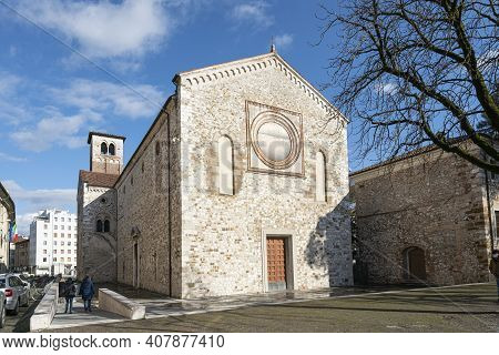 Udine, Italy. February 11, 2020.  Outside View Of The Ancient Church Of St. Francis In The City Cent