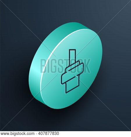 Isometric Line Wooden Cork For Wine Icon Isolated On Black Background. Turquoise Circle Button. Vect
