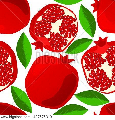 Seamless Pattern With Pomegranates, Leaves And Grains. Juicy, Fresh Red Pomegranates On White Backgr