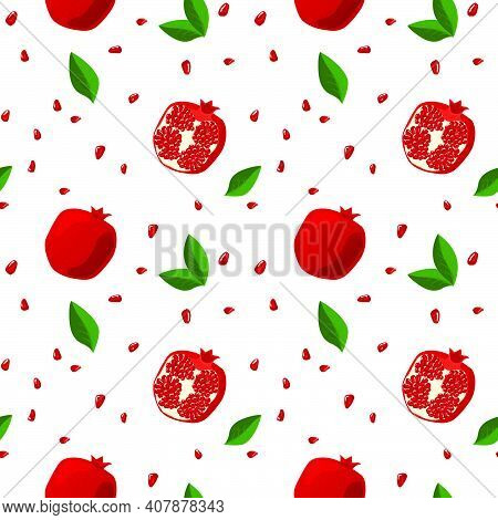 Seamless Pattern With Pomegranates, Leaves And Grains. Half Pomegranate And Whole Fruits. Juicy, Fre