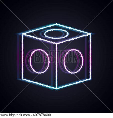 Glowing Neon Line Billiard Chalk Icon Isolated On Black Background. Chalk Block For Billiard Cue. Ve