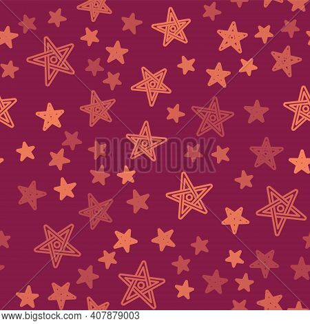 Brown Line Pentagram Icon Isolated Seamless Pattern On Red Background. Magic Occult Star Symbol. Vec
