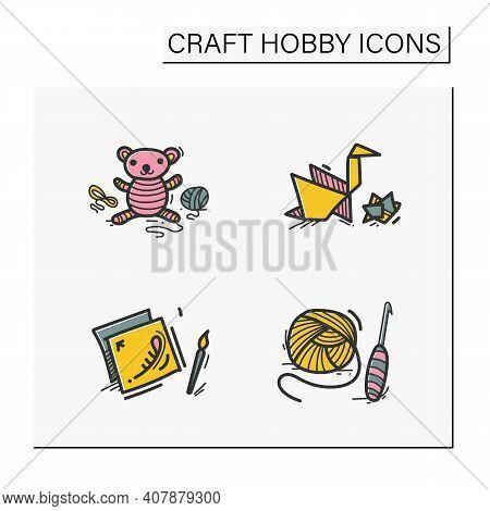 Craft Hobby Set Hand Drawn Color Icons. Handmade And Homemade Concept. Consist Of Crochet Basics, De