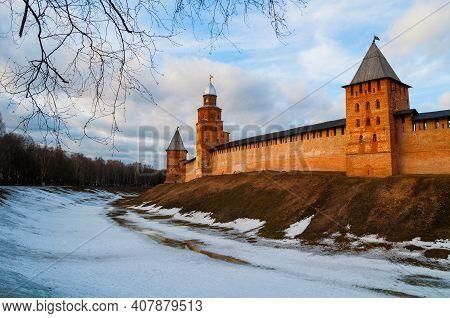 Veliky Novgorod, Russia, Kremlin Medieval Fortress, Early Spring View. Veliky Novgorod Kremlin Fortr