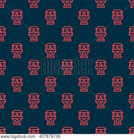 Red Line Brick Stove Icon Isolated Seamless Pattern On Black Background. Brick Fireplace, Masonry St