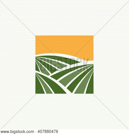 Farming Design Emblem For Agriculture Symbol On The White Background. Rural Country Farming Field. V