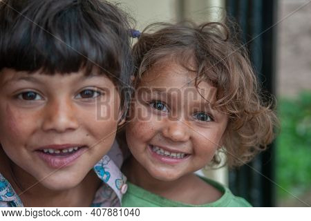 5-16-2018. Lomnicka, Slovakia. A Close-up Of A Roma Or Gypsy Children In An Abandoned Community In T