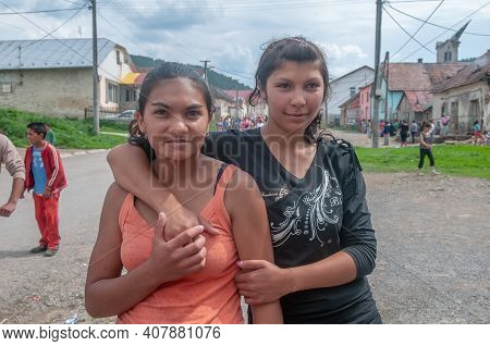 5-16-2018. Lomnicka, Slovakia. A Close-up Of Roma Or Gypsy Adolescent Girls In An Abandoned Communit
