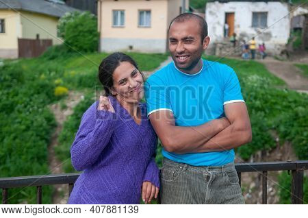 5-16-2018. Lomnicka, Slovakia. A Close-up Of A Roma Or Gypsy Couple In An Abandoned Community In The