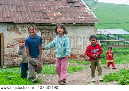 05-16-2018. Lomnicka, Slovakia. A Roma Or Gypsy Children In An Abandoned Community In The Heart Of S