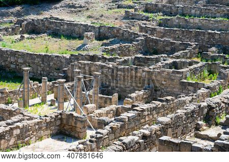 Ruins Of Ancient City Of Kameiros On The Greek Island Of Rhodes In Dodekanisos Archipelago. Ancient