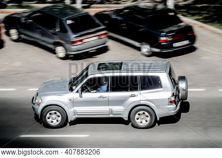 Moscow , Russia - April 30, 2020: Silver Mitsubishi Pajero Suv Car On The City Road. Fast Moving Veh