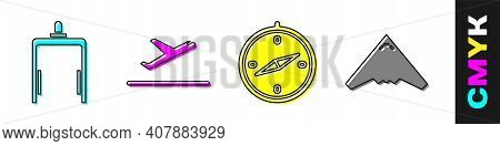 Set Metal Detector In Airport, Plane Takeoff, Compass And Jet Fighter Icon. Vector