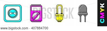 Set Electrical Outlet, Multimeter, Led Light Bulb And Light Emitting Diode Icon. Vector