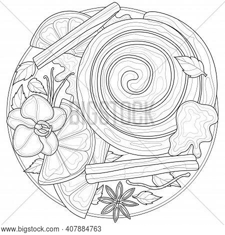 Cinnamon Bun On A Plate With Cinnamon And Vanilla.coloring Book Antistress For Children And Adults.