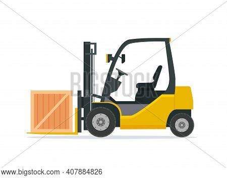 Yellow Forklift Truck Isolated On White Background. Forklift Unloads Boxes. Delivery, Logistic And S