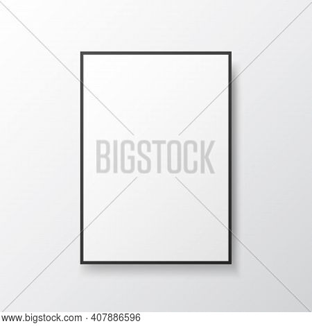 Poster Mockup Frame. White Blank On Light Wall. Photo Template With Black Frame. Isolated Painting W
