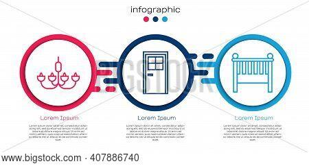 Set Line Chandelier, Closed Door And Baby Crib Cradle Bed. Business Infographic Template. Vector