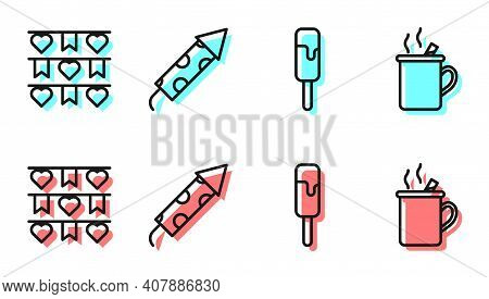 Set Line Ice Cream, Carnival Garland With Flags, Firework Rocket And Mulled Wine Icon. Vector