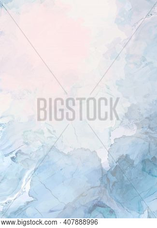 Dusty Blue And Pink Watercolor Fluid Painting Vector Design Card. Blush Powder Geode Frame. Winter W