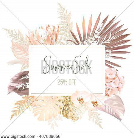 Trendy Dried Palm Leaves, Pale Protea, Orchid, Pampas Grass, Gold Monstera, Fern, White Ruscus Vecto