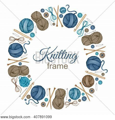 Watercolor Knitting And Crocheting Tools Frame. Wooden Knitting Needles, Crochet Hook, Yarn Skeins,
