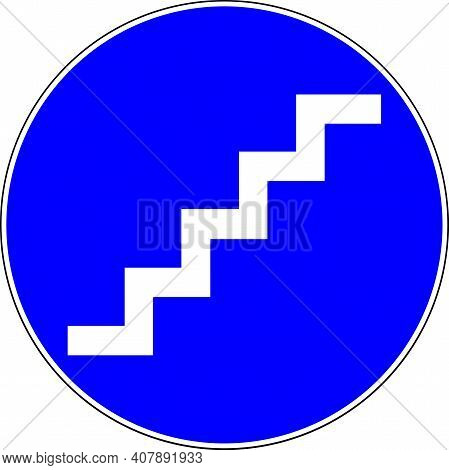 Stairs Available Blue Sign On White Background