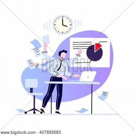 Businessman Multitasking At Workplace. Busy And Overload Man. Vector Workplace Office Employee, Many