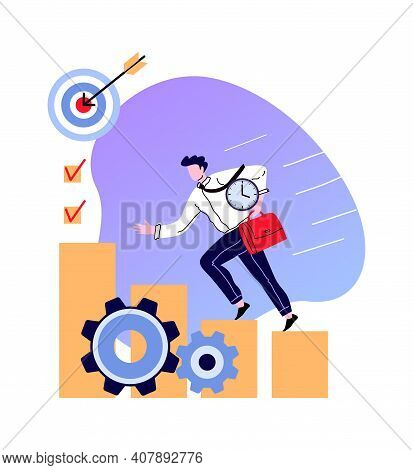 Man Climb On Staircase To Business Goal. Businessman Progress And Achievement, Climbing Stairway And