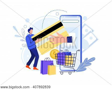 Buy In Online Shop With Smartphone, Pay Card. Vector Smartphone, Commerce Online Shop, Use Gadget Fo
