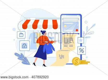 Pay In Online Shop Using Smartphone, Woman Buyer. Vector Buyer Online, Pay In Shop Phone, E-commerce