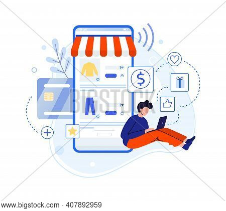 Boy Write Review About Purchase In Internet Shop. Vector Customer Internet Read Feedback And Survey