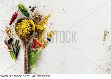 Tasty Appetizing Indian Asian Food Ingredients Spices Flat Lay Wooden Spoon On White Background Top