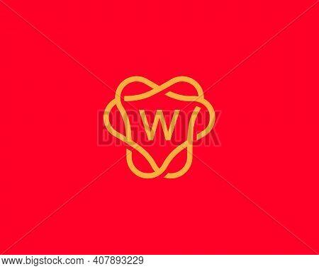 Abstract Linear Letter W Logo Icon Design Modern Minimal Style Illustration. Unusal Round Wreath Fra