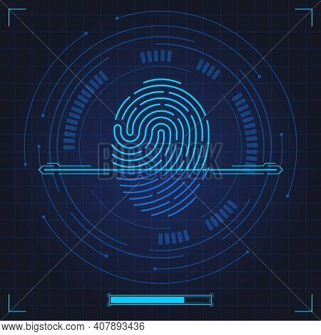Fingerprint Scan. Biometric Fingerprints Identification, Security System Thumb Lines Authentication.