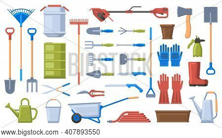 Gardening Tools. Garden Work Equipment, Shovel, Rake, Wheelbarrow, Gloves And Pruner. Agriculture Ga