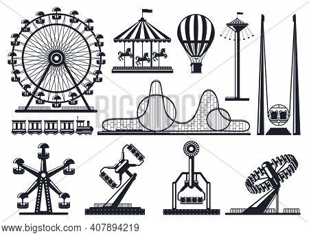 Amusement Park Silhouette. Attractions Festive Park Carousel And Ferris Wheel. Carnival Park Attract